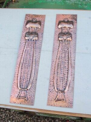 Rare Pair Of Large  Arts & Crafts Copper  Finger Plate circa.1900