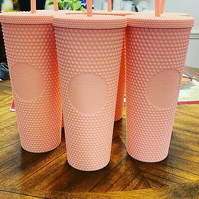 2020 NEW 🥤Starbucks Matte Pink Studded Cold Cup Tumbler Spring Release 24 OZ