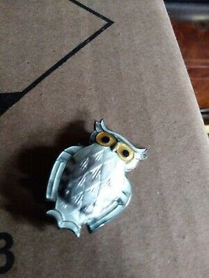 Signed David Andersen Norway VTG Sterling Enamel Owl Brooch Pin Original Box!