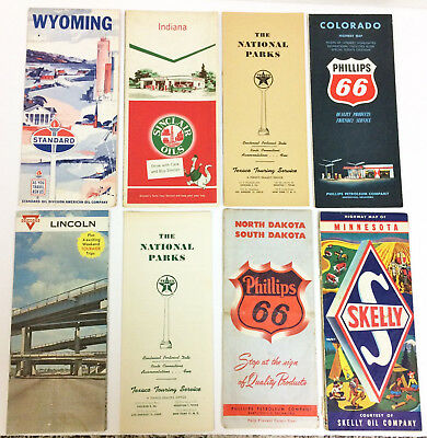 8 Vintage Maps Skelly Phillips Conoco Texaco Standard Sinclair Gas Advertising