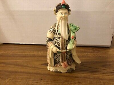 Vintage Chinese Hand Carved Resin Buddhist Man Figure Old Decor Statue Asian Art