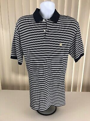 Mens Brooks Brothers Sport S/S Polo Shirt Striped Sz L 2-button Golden Lamb