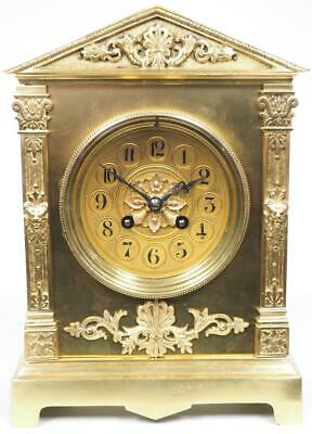 Antique French Ormolu Mantel Clock 8 Day Bell Striking Bronze Mantle Clock c1890