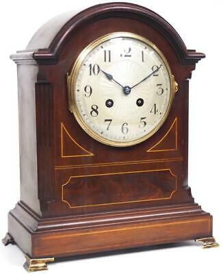 Fine Antique French Mahogany Mantel Clock 8 Day Bell Striking Mantle Clock C1860
