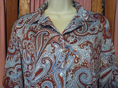 Size 36 Vintage Blue and Rust Paisley Print Polyester Shirt Retro