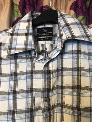 Chester Barrie Saville Row 2 Ply Cotton Check Long Sleeve Shirt Canclini Size S
