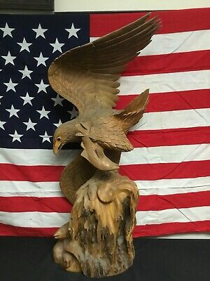 Vintage Hand Carved Wood Eagle With Fish Burl Walnut 1950s 32 Inch Tall.