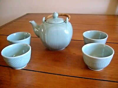 PIER 1 IMPORTS GREEN PORCELAIN TEA SET - Teapot & 4 Cups