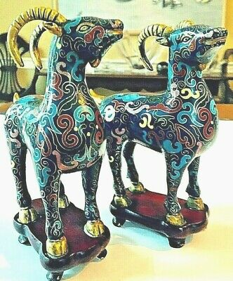 Outstanding Pair of Chinese Cloisonne Goats