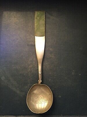 ANTIQUE CHINESE Green JADE HANDLE PEWTER SPOON Hand Chased Spoon Bowl