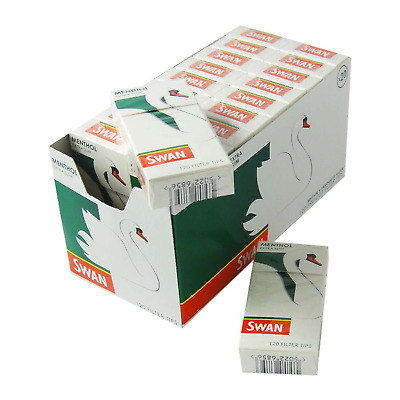 10 Swan Menthol Extra Slim  Boxes Cigarette Smoking 120 Filter Tips Half Box