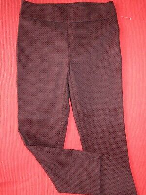 COUNTERPARTS Red/Black Floral Print STRETCH Pull-on Ankle Pants Womens size 10