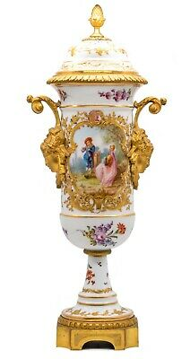 France 1870 Sevres Porcelain Louis Xvi Vase With Lid, Gilded Ormolu Mounting