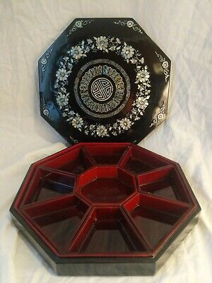 Vintage Chinese Octagon Black Laquer Box w/ Dividers and Mother of Pearl Inlay