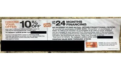Home Depot coupon 10% Off or up to 24 Month No Interest Online In Store exp 4/30