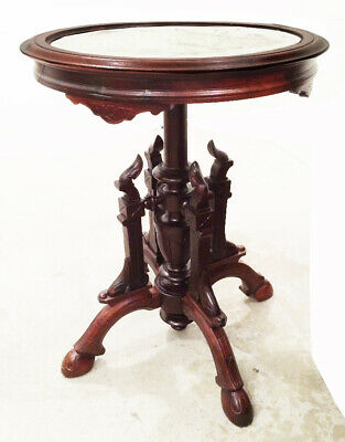 ANTIQUE late 1800s Victorian ROSEWOOD marble top parlor table BROOKS BROS.