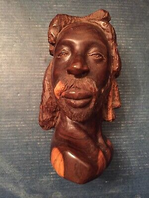 Hand Carved Solid Wood Rasta Dread Locks Man Bust Statue Figure Intricate Detail