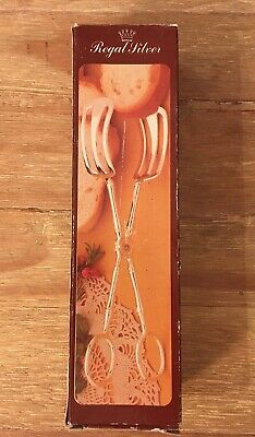 Vintage REGAL SILVER Silverplate Gourmet Bread Tong Tongs Brunch Made In Italy