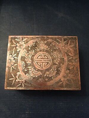 Beautiful Chinese Hand Chased Silverplated Copper Cigarette Box Wood Lined