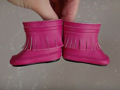 AMERICAN GIRL Retired Camping Outfit PINK FRINGED ANKLE BOOTS for Dolls