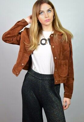 vintage levi's brown suede cropped jacket small