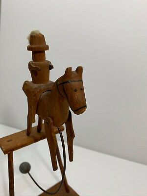 Antique American Primitive Folk Art Horse And Rider Balance Toy Carving