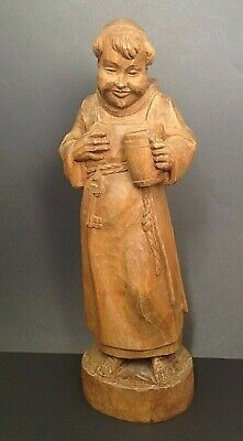 "Vintage Wood Hand Carved Monk 14"" Wine Beer Drinking Friar Monastic Statue VGC"
