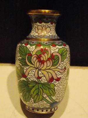"CLOISONNE VASE 4"" Enamel Antique Small VASE intricate flower insect bee CHINESE"