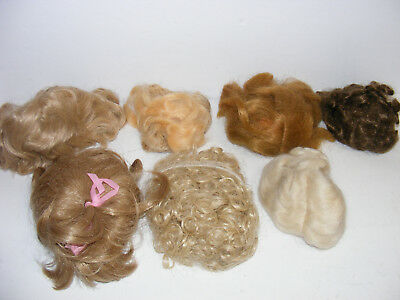 7 Vtg Antique DOLL WIGS LOT MOHAIR Human Hair & Synthetic Assorted DOLLS Sizes