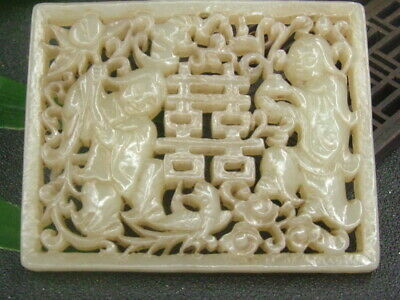 Chinese Antique Celadon Nephrite Hetian-Hollowing Jade BOY GRIL Statues/Pendant7