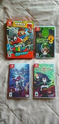Nintendo Switch Lot of 4 Games: SUPER MARIO ODYSSEY LUIGI'S MANSION 3 +++ USED