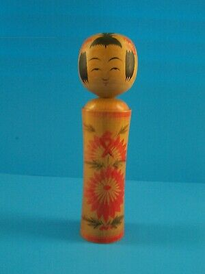 "Antique Kokeshi Wooden Doll Artist Signed Dated 1974 9.5"" Tall"