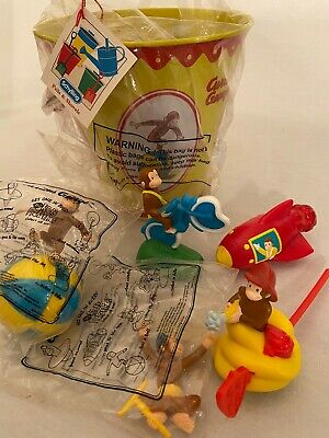"Curious George Schilling Bucket/Pail (7"" Tall) W/ Five Dairy Queen George Toys"