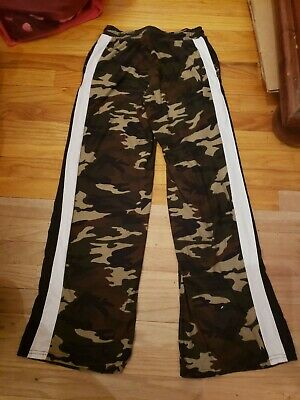 Hot Kiss Womens Green Camouflage Elastic Waist Lounge Pants S white black stripe