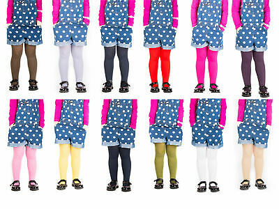 KIDS FASHION Girls Plain Soft MICROFIBER Opaque TIGHTS 60 Denier Colours Sizes