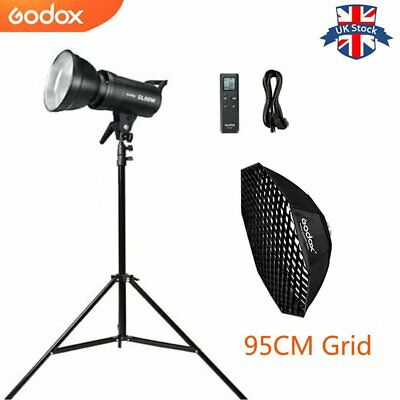 UK Godox 60W SL-60W 5600K LED Video light  Lampe+95CM Grid softbox+2m stand Kit