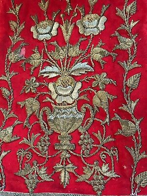 Antique French Embroidery Gold Metallic Embroidered Appliqué Flowers Roses
