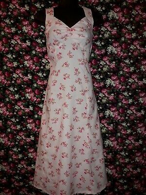 Genuine Vintage 70s Pink Polyester Dress with Floral Print Size 12-14