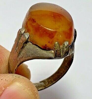 ANCIENT ROMAN SILVERED RING - AMBER RARE STONE  (inner 20mm)