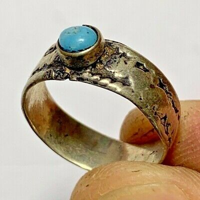 ANCIENT ROMAN SILVER RING - VERY RARE OLD STONE  (inner 18.0mm)
