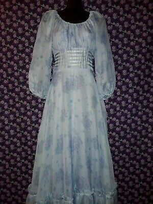 Genuine Vintage 70s Blue Polyester Chiffon Dress with Floral print Size 10