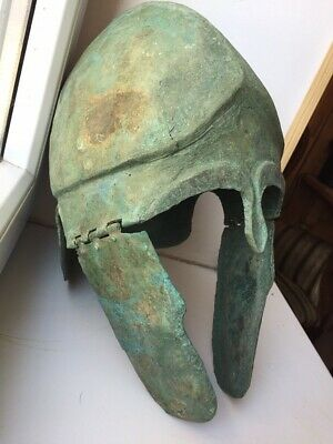 An Ancient Greek Chalcidian Bronze Helmet, 5th-4th century B.C.