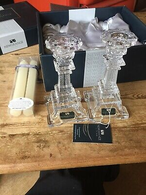 NEWGRANGE LIVING Irish Crystal Glass CANDLE HOLDERS With Candles - Boxed New
