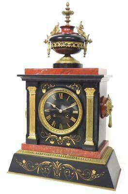 Antique French Slate & Bronze Mantle Clock 8 Day Striking Architectural Clock