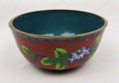Antique Chinese Cloisonne Floral Enamel Bowl