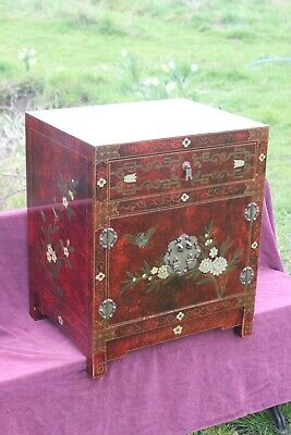 Eastern Chinese Antique style lacquered cabinet table,Chinese bedside lamp table