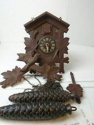 Antique German Cuckoo Clock Birds Pine Cone Weights Leaf Pendulum Project Parts