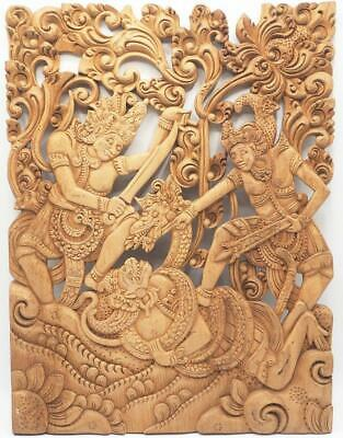 Vintage Chinese Wood Hand Carved Animal Dragon Wall Hanging