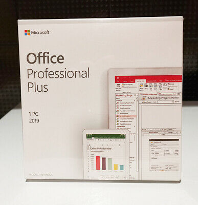 Microsoft Office 2019 Professional Plus Retail DVD for Windows Full Version 1 PC