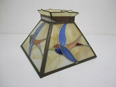 Vtg Stained Slag Leaded Glass Table Light Lamp Shade Bird Swallow Sparrow 15.5""